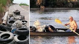 Spazzini del Po: i volontari in barca recuperano gli pneumatici