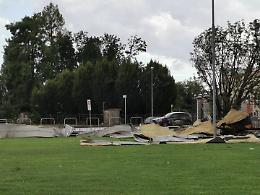 Tromba d'aria a Soresina, colpiti la zona industriale e il palasport
