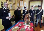 Gli oggetti sacri rubati dalla chiesa di Acqualunga Badona e recuperati dai carabinieri
