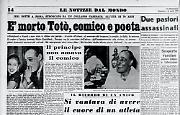 Si è spento a 70 anni il principe Antonio De Curtis, in arte Totò