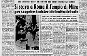 Si scava a Roma il Tempio di Mitra per scoprire i misteri del culto del sole