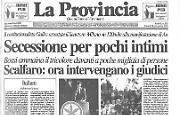 Bossi proclama la secessione della Padania dall'Italia