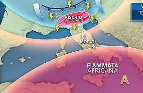 Nel weekend Italia spaccata tra forti temporali al Nord e punte di 40°C al Sud