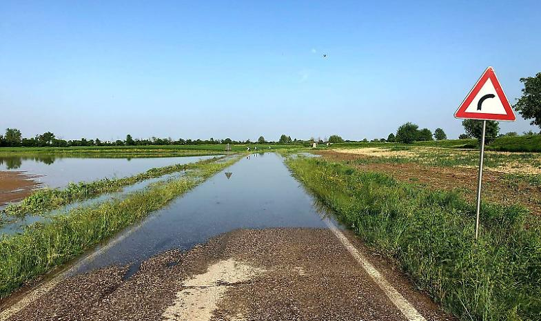 Crolla la sponda del canale: strada e campi allagati